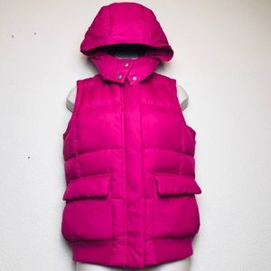Gap Puffer Vest Pink Removable Hood Down Jacket S
